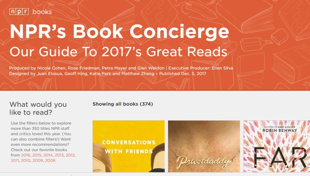 NPR best books 2017E